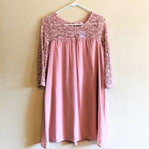 NWT Mauve Lace Sleeve Shift Dress